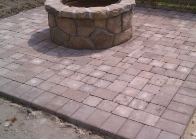 Stone Firepit and Paver Patio